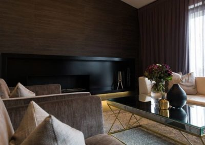 Bespoke fabricated fire place. Made out of mild steel. Finished in black powder coat. Photo: Julia Lochhead Photography